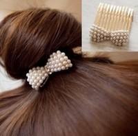 Korean pop jewelry   Pearl bowknot exquisite bangs hair comb!#1068