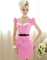 Free Shipping Ladies bubble short sleeve dress woman's tight sweet with white collar lotus leaf Dress 3046 1PCS/lot