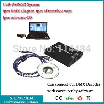 Free Shipping DMX512 USB controller, 1pc DMX adapter+ 1pc interface wire+1pc FreeStyler light control software(CD)