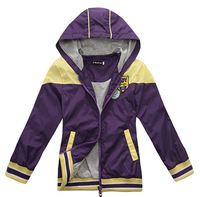 Wholesale 6 pcs spring Autumn purple yellow red Children Child boy Kids baby hooded coat jacket outwear clothing top PECS09P13