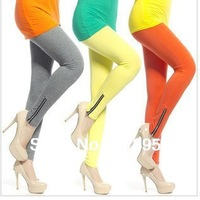 Fashion Women Sexy Side Zipper Cotton Blends Tights/Pants candy color  elastic leggings ankle length trousers free shipping