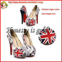 2013 uK flag  new design 1pair/lot  red bottom  high heels  prom heels  women high heels hot sell pumps