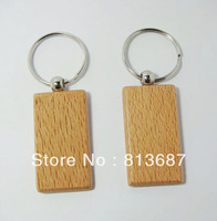 Wholesale 200pcs Rectangle  Blank Wooden Key Chains Promotion Carving Keyrings 2.25''*1.25'' -DHL /Fedex Free Shipping