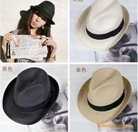 men and women straw summer hat fedora cap jazz hat 20pcs mix color
