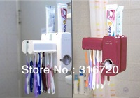 Brand New Touch Me Automatic Toothpaste Dispenser and Toothbrush Holder Family Set White and Wine Red