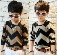 5pcs/lot children boy's fashion wavy striped long sleeve knitted t-shirt baby top clothes ZZ0341