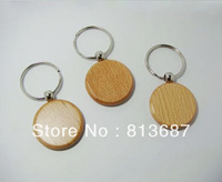 Wholesale 200pcs Circle  Blank Wooden Key Chains Promotion Carving Keyrings 1.25''*1.25''-  DHL /Fedex Free Shipping