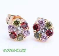 Amazing Wholesale so Shining Color 18k gold plated fashion jewelry Crystal Stud Earrings JE005B Birthday Free shipping
