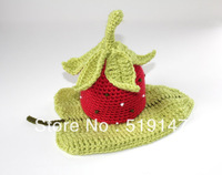 Free shipping strawberry baby hat and shorts handmade crochet newborn photography props baby hat and shorts