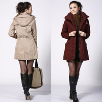 2012 autumn and winter trench outerwear elegant slim thickening hooded wadded jacket cotton-padded jacket