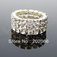 Retail sale 10pcs Cheap fashion 3 rows stretch rhinestone ring hotsale wedding ring free shipping
