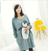 Little penguin maternity dress shirt maternity clothing autumn and winter maternity top maternity sweatshirt fleece 42