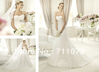 Attractive New A Line Chapel Train Sweetheart Unique Beaded Empire Lace Wedding Dresses 2013 Zuhair Murad