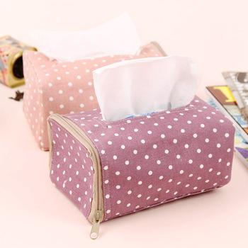 Polka dot tissue box plastic desk table towel napkin holder case best home car decor fashion fabric box pumping p2745