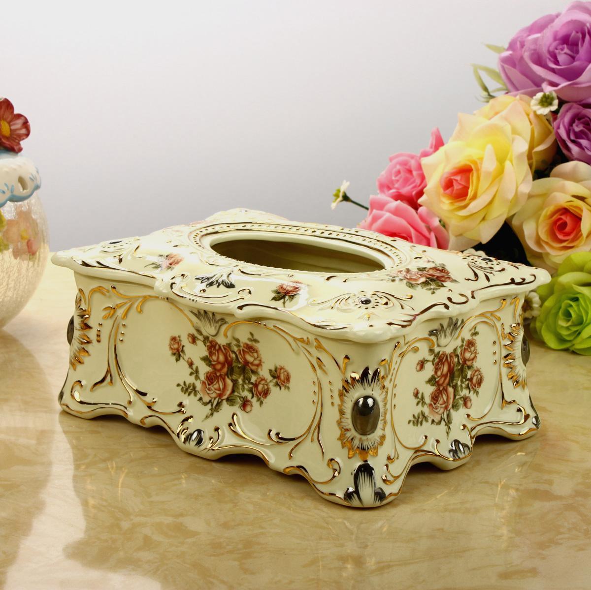 Série de porcelana Moda marfim caixa de tecido de cerâmica caixa de papel de bombeamento acessórios para casa nova decoração da casa(China (Mainland))