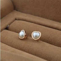 Min order $15(mix order) 2013 new arriving High-quality heart imitation pearl titanium steel earring