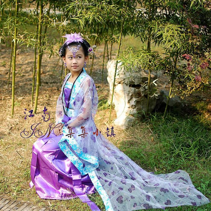 Purple New Chinese Vintage Royal Girl's Dress Flower(China (Mainland))