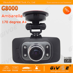 Best GS8000 Car Camera Video Recorder DVR Full HD 1080P 30FPS G-sensor + Night Vision + Motion Detection + Optional GPS(China (Mainland))