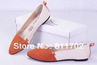 2014 spring autumn season leather colours bevel flat shoes color matching for women's shoes, single shoes free shipping