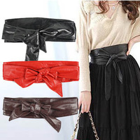 Ultra long paragraph ring soft leather bow body shaping bands wide belt cummerbund
