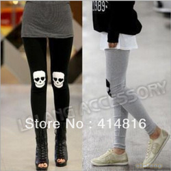 1 piece/lot Wholesale Price Cotton Women's Warm Pants Skull Skeleton Tights Leggings Silm Stretch Tights Black/Grey 650860(China (Mainland))