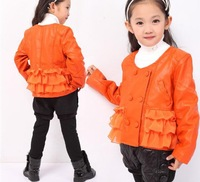 The new spring 2013 motorcycle leather garment wholesale children wavy edge girls coat