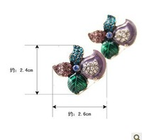 FREE SHIPPING (min order $15 mixed is ok) beautiful flowers rhinestones earring