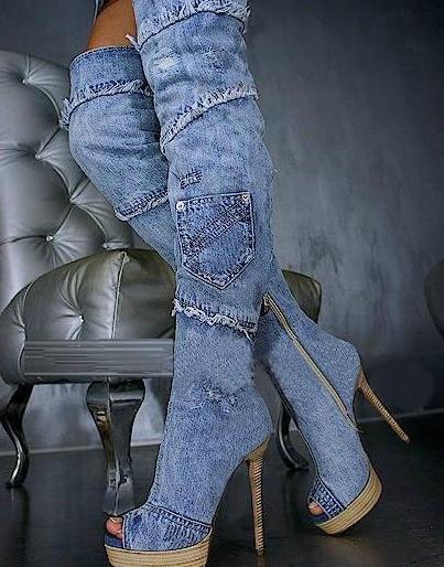 Boca de peixe botas jeans marca jeans famosos genuína overknee couro rendas botas dedo apontado zip botas jeans(China (Mainland))