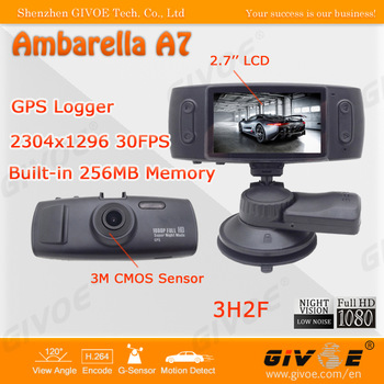 Full HD 1080P GS6000 Black Box Car DVR 120 Degree Lens Angle + GPS Logger + G-Sensor + 5.0MP Camera + Low Illumination
