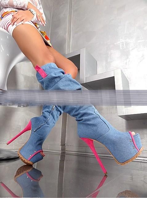 Boca de peixe calcanhar de rosa 14 cmDenim botas marca jeans famosos genuína overknee couro rendas botas zip botas jeans(China (Mainland))