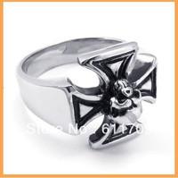 Free shipping Wholesale Men's Titanium Steel Punk Gothic Skull Cross Ring for man guy male birthday Gift