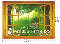 10pc DIY window scenery outside fake windows sticker 70*50cm sofa background bedroom pvc wall sticker removable AY-731
