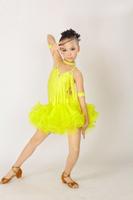 2013 New! Child Sleeveless Latin perform dress with Rhinestone 3~15T Mini kids/girl dance costume Mixed colors&sizes Free ship