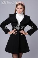new women's elegant ruffles woolen outwear wool coat