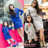 Family fashion one-piece dress 2013 spring fashion clothes for mother and daughter one-piece dress long-sleeve skirt 100% cotton