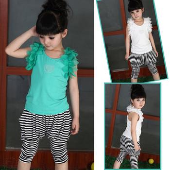 2012 summer stripe child harem pants girls clothing capris knee-length pants bloomers shorts set