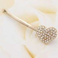 free shipping fashion sweet hair accessory rhinestone heart type hairpin clip