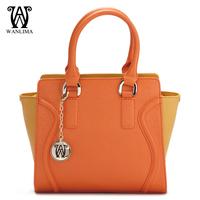 WANLIMA 2013 women's handbag spring bag cowhide patchwork women's handbag brand women's handbag