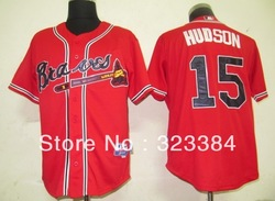Free shipping can mix order baseball Jersey,Atlanta Braves #15 Hudson Cool Base white/grey jerseys,number and name embroidery(China (Mainland))