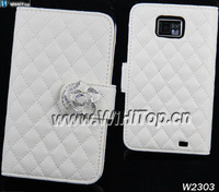 Luxury Grid Fashion Design Wallet Leather Case for Samsung Galaxy S2 i9100 Original WHT Leather Case.Different Colors
