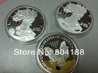 400pcs/lot  wholesale free shipping MIX YEAR The American Eagle SILVER VERSION coins!1oz silver clad Statue of liberty coin