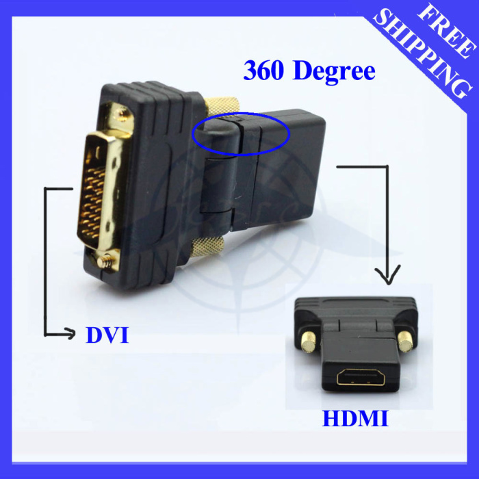 FREE SHIPPING HDMI FEMALE TO DVI MALE F-M ADAPTER CONVERTER FOR HDTV 360 DEGREE #ZH034# 100PCS/LOT(China (Mainland))