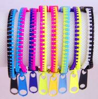 Free shipping 2014 new jewelry european fashion Creative zipper punk bracelet exquisite doule color multicolor zip plastic women