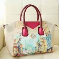 Free shipping-Spring bags 2013 women's handbag doodle smiley bag colorant match vintage messenger bag