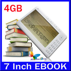45.97$!! 7'' TFT 4GB Ebook Reader 800X480 Readers With Support TXT PDF DOC+PU Leather Case+FM Radio+MP3/MP4 Player(China (Mainland))