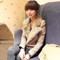 Spring 2013 woolen coat women's slim zipper fur collar short design woolen outerwear