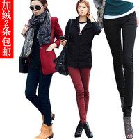 Plus velvet thickening tights plus size elastic basic mid waist elastic waist trousers pencil pants boot cut jeans