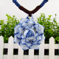 Day gift girlfriend gifts vintage necklace accessories fashion ceramic necklace flower necklace