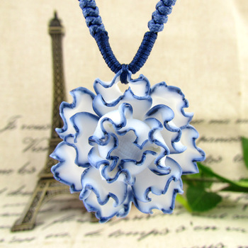 Jingdezhen ceramic accessories blue and white porcelain necklace peones brief necklace accessories necklace pendant