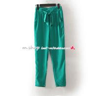 FREE  SHIPPING New arrival d-k9168 fashion women's bow belt chiffon silk pants long trousers 5